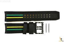 Luminox 1148 Tony Kanaan 26mm Black Leather  w/ Green & Yellow Watch Band Strap