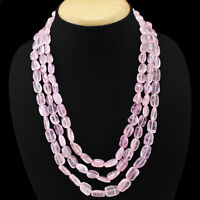 SUPETB TOP GRADE 548.00 CTS NATURAL 3 LINE PINK ROSE QUARTZ OVAL BEADS NECKLACE