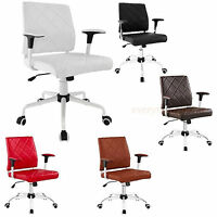 Padded Desk Office Mid Back Chair Rolling Casters Mid-Century Modern - Black Whi