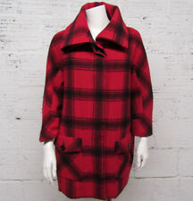 Talbots Womens Size S Red & Black Checkered Wool Blend Coat