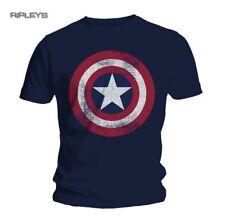 Marvel Men's Captain America Distressed Shield T-shirt Medium Navy