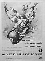 PUBLICITÉ DE PRESSE 1961 BUVEZ DU JUS DE POMME - RUGBY - ADVERTISING