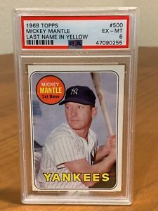 1969 Topps  Mickey Mantle #500 PSA 6! (Last Name In Yellow)