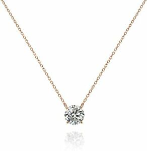 BEAUTIFUL Minimalist 14k Rose Gold Chain CZ Necklace Gift Anniversary Plated