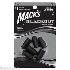 Mack's Blackout Foam Ear Plug Musician Black Earplug Concerts Discreet 3 pr 983