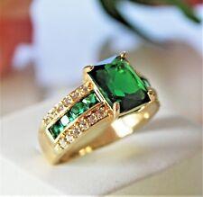 Eleganter Smaragd grün Herren Damen Ring Gold 18K GF gest. (750) Gr 63 Ø20,0 mm