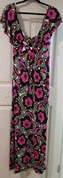 Ladies size 14-16 Pink Purple and Black LONG Stretchy Dress Jeanswest  BNWT