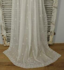 Divinely Pretty Antique French Fine Muslin, Cornely Lace Curtain / Drape, 19th C