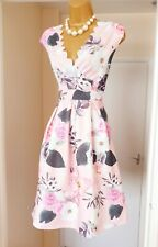 BNWT MISS LOOK Pink Blossom Floral Scalloped Summer Tea Party Dress - Size 16