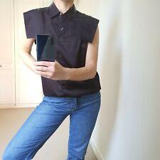 Dries Van Noten Blouse Top Shirt 40 M Black Brown Sleeveless Button Down Cotton