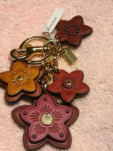 COACH WILDFLOWER MIX LEATHER KEYCHAIN CHARM  MULTICOLOR  5136  $98.00 NWT