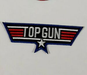 Top Gun Wing Iron/ Sew-On Embroidered Patch Fancy Dress Jacket T-Shirt Badge