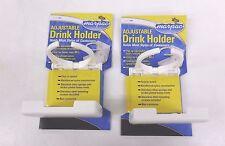 SET OF 2 WHITE ADJUSTABLE FOLDING CUP DRINK HOLDER FOR BOAT CAR RV W/HARDWARE