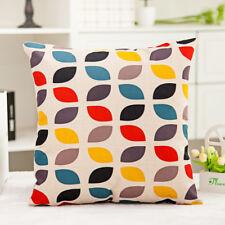 1x Retro Composite Linen Cushion Cover Sofa Pillow Case Colorful Leaves 42x42cm