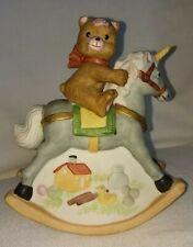 Unicorn & Teddy Bear rocking music box 8 1/2 In Nursery Decor