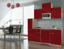 Küche Küchenzeile Singleküche Küchenblock 180 cm Eiche Sägerau rot respekta
