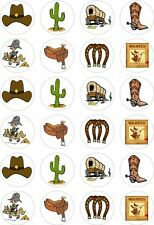 24 Cowboy Western Wild West Cupcake Fairy Cake Toppers Edible Rice Wafer Paper