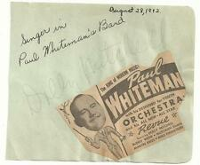 Paul Whiteman Band Dolly Mitchell Signed Auto Vintage Full Album Page  TD