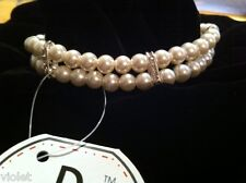 Dog necklace with pearl and diamante BNWT size Large NEW with tags, perfect