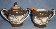 Vintage Japan CREAM & SUGAR set fighting DRAGON flying fish gold lined  3D AS-IS
