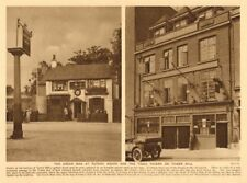 The Green Man at Putney Heath. Tiger Tavern on Tower Hill 1926 old print