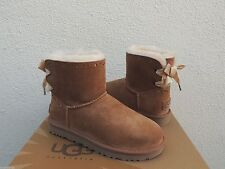 UGG CHESTNUT DIXI FLORA PERF MINI BAILEY BOW SHEEPSKIN BOOTS,  US 6/ EUR 37 ~NIB