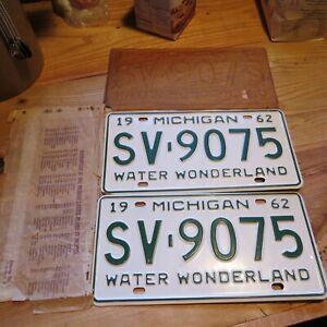 1962 Michigan License Plates Pair Water Wonderland  SV9075 Original  very fine