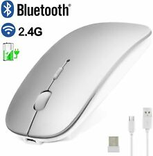 SILVER Bluetooth 2.4GHz dual mode Mouse Wireless Slim Rechargeable PC Laptop USA