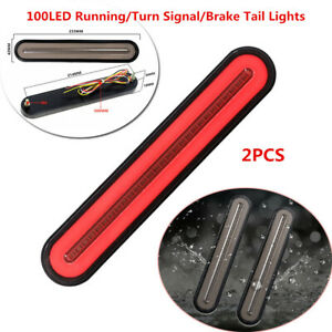 2Pcs Halo Neon Flowing 100LED Car Trailer Turn Signal Brake Tail Lamp Red+Yellow