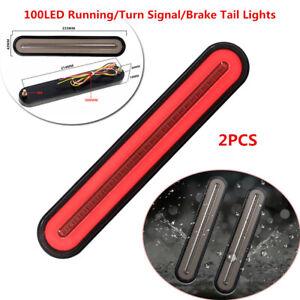 2Pcs Halo Neon Flowing 100LED Car Trailer Turn Signal Brake Tail Lamp Red+Yellow