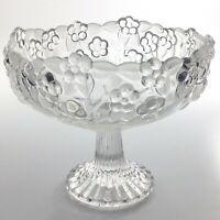 Vintage Pedestal Bowl Fruit Dish Clear Glass Flower Decor Centre Piece T107