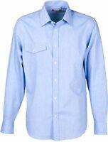 camicia uomo taglie forti no maxfort manica lunga taschino 100% cotone fino 5xl