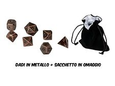 Blackfire Metal Dice Set 7 dadi in metallo color Rame Antico + sacchetto RPG