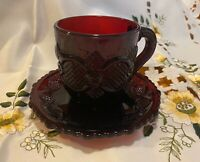 Avon Cape Cod Ruby Red Cup & Saucer Set - Marked 1975  - 1990 On Cup