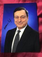 MARIO DRAGHI-Capo del governo-PCM Italia-Autografo-Foto ufficiale! 18x13xm