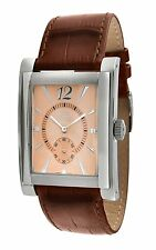 Men's Rectangle Stainless Steel Case & Genuine Leather Watch by Gino Franco