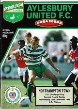 Football Programme>AYLESBURY UNITED v NORTHAMPTON TOWN Dec 1989 FAC
