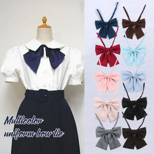 Cute Japanese School Girls JK Uniform Bow Tie Pure Colors Lolita Necktie Cosplay