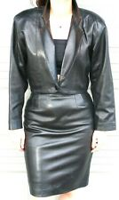 VAKKO BLACK LEATHER  SUIT -  JACKET and  SKIRT-  size M10