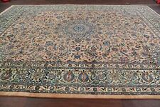 Vintage One-of-a-Kind Floral PEACH GREEN Kashmar Area Rug Hand-Knotted 10'x14'