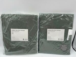 "New West Elm European Belgian Flax Linen Drapes 48"" x 84"" ~Olive~ S/2"