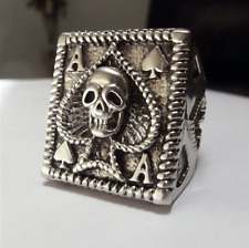 STAINLESS STEEL ACE OF SPADES SKULL RING