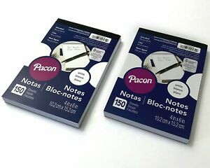 """(2) Pacon White Note Pads 4""""x 6"""" Unruled 150 Sheet Count"""