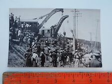 VTG RPPC STEAM ENGINE TRAIN WRECK PHOTO GREAT DETAILS ERIE CRANES LIFTING CAR