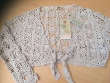 FAT FACE BEIGE ECRU Crocheted Tie Front court shrug Boho Cardigan 14 £ 42 BNWT