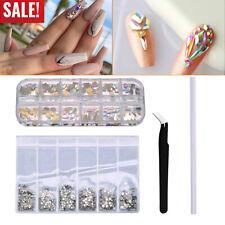 For Nail Art Craft +picking up pen+ stainless steel tweezer Mix Gems Rhinestones