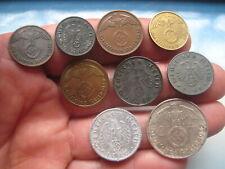 WW2 nazi GERMAN COINS with EAGLE Set of 9. Deutsches Reich 1937-1943, Genuine