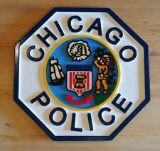 Police Department Chicago 3D routed carved plaque wood Patch Sign Custom