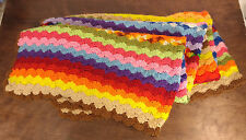 Beautiful Handmade Crocheted Homemade Afghan Blanket Throw Multicolor Rainbow
