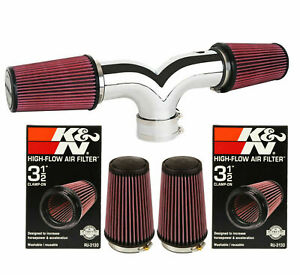 K&N Filter Dual For 2001-2004 Chevy Corvette C5 5.7L V8 Twin Air Intake Kit